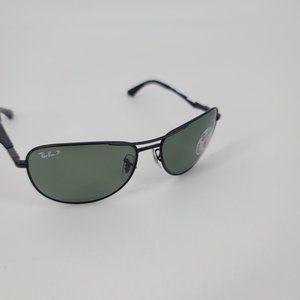 Rayban Matte Black Polarized Green Avatior Glasses